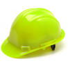 Pyramex Cap Style 4 Point Ratchet Suspension Hard Hat - Hi Vis Green HP14131, Pack of 12