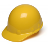 Pyramex Sleek Shell Cap Style 4 Point Ratchet Suspension Hard Hat - Yellow HPS14130, Pack of 12